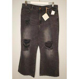 Lee Size 33 Jeans Wide Leg Black Distressed